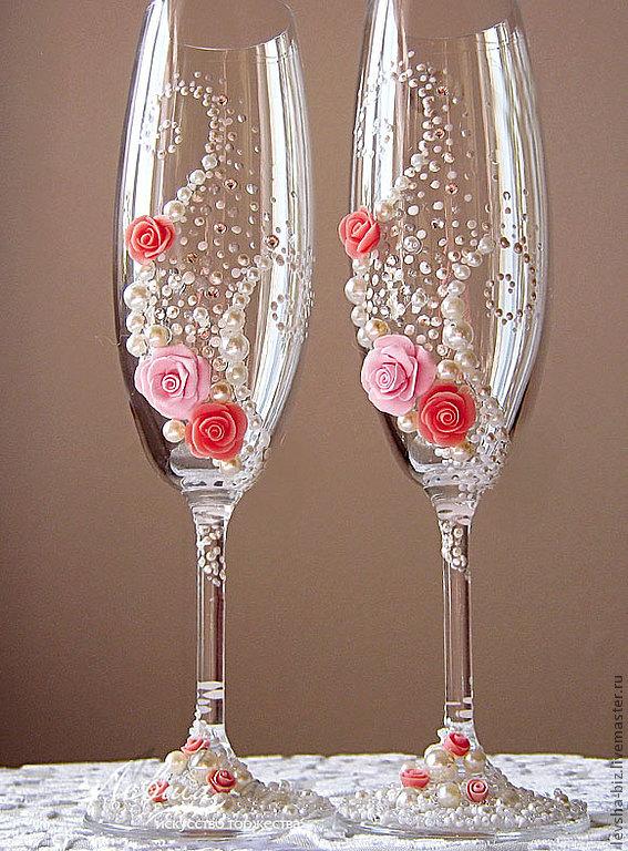 Фото свадебные бокалы своими руками фото